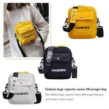 Letter Print Outdoor Sports Shoulder Messenger Handbags Casual Women Men Canvas Crossbody