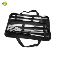 5pcs Set Stainless Steel BBQ Utensil Grill Set Tools Outdoor Cooking BBQ Kit With Carry Bag
