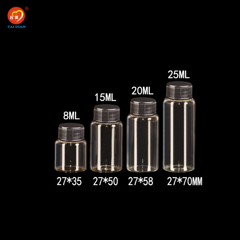8ml 15ml <font><b>20ml</b></font> 25ml <font><b>Glass</b></font> <font><b>Bottles</b></font> <font><b>With</b></font> Plastic <font><b>Cap</b></font> Black <font><b>Screw</b></font> Decorate <font><b>Glass</b></font> <font><b>Vials</b></font> Plastic Jars <font><b>Bottles</b></font> 50pcs Free Shipping image