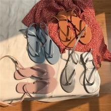 цена на New 2019 Woman Summer Sandals Flat Shoes Lace Up Women Beach Slides Footwear Flip Flops Open Toe Sandals Sandalias Mujer