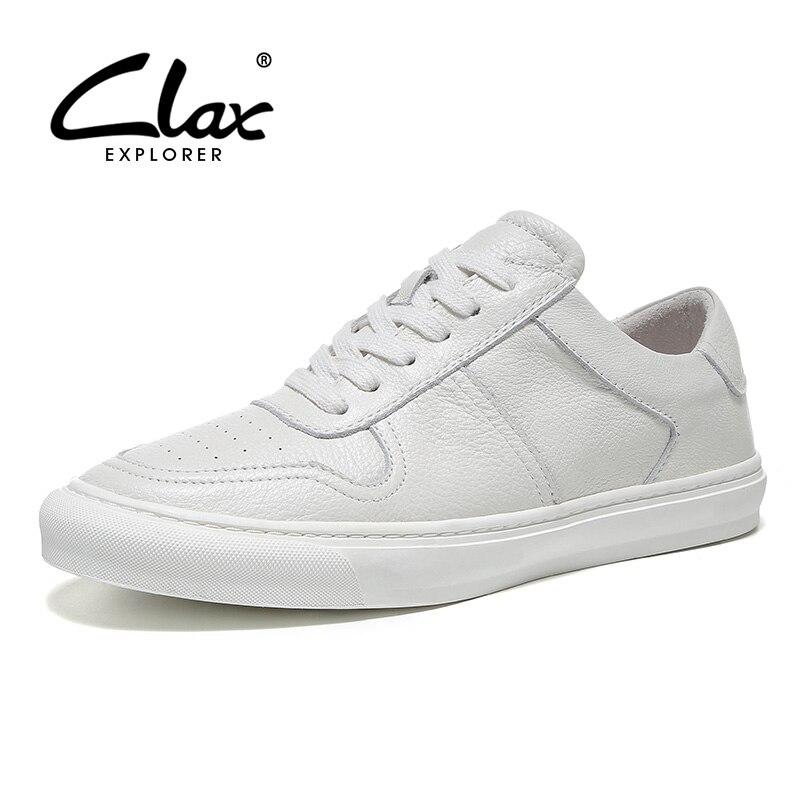 CLAX Mans Chaussures En Cuir Véritable 2019 Printemps Casual Chaussures Hommes Blanc Chaussures de Marche De Mode Doux-in Chaussures décontractées homme from Chaussures    1