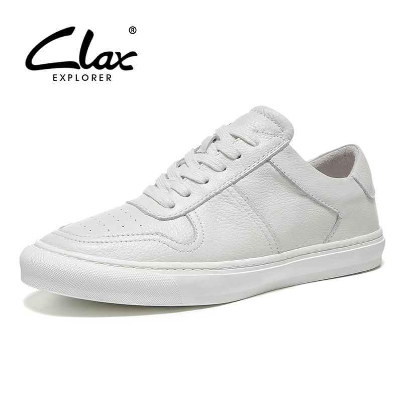 CLAX Mans Shoes Genuine Leather 2019 Spring Casual Shoe Male White Walking Footwear Fashion Soft