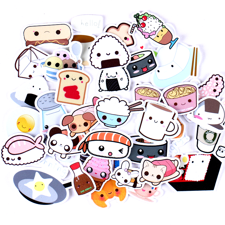 36pcs Creative Cute Kawaii Self-made Expression Food Scrapbooking Stickers /decorative Sticker /DIY Craft Photo Albums/trunk