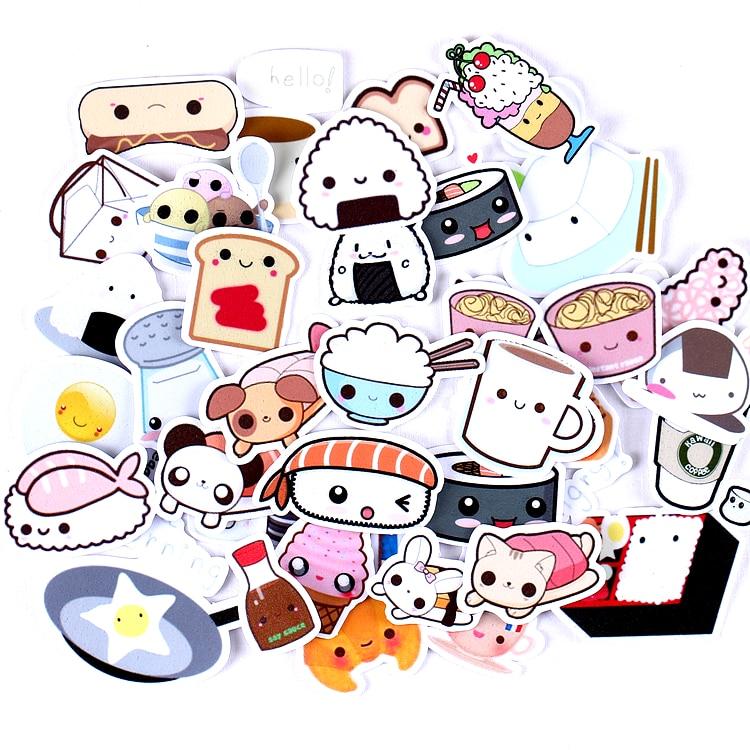 36pcs Creative Cute Kawaii Self-made Expression Food Scrapbooking Stickers /decorative Sticker /DIY Craft Photo Albums/trunk