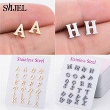 SMJEL – boucles d'oreilles Alphabet en acier inoxydable, initiales, pour femmes, filles, enfants, bijoux de tous les jours à personnaliser