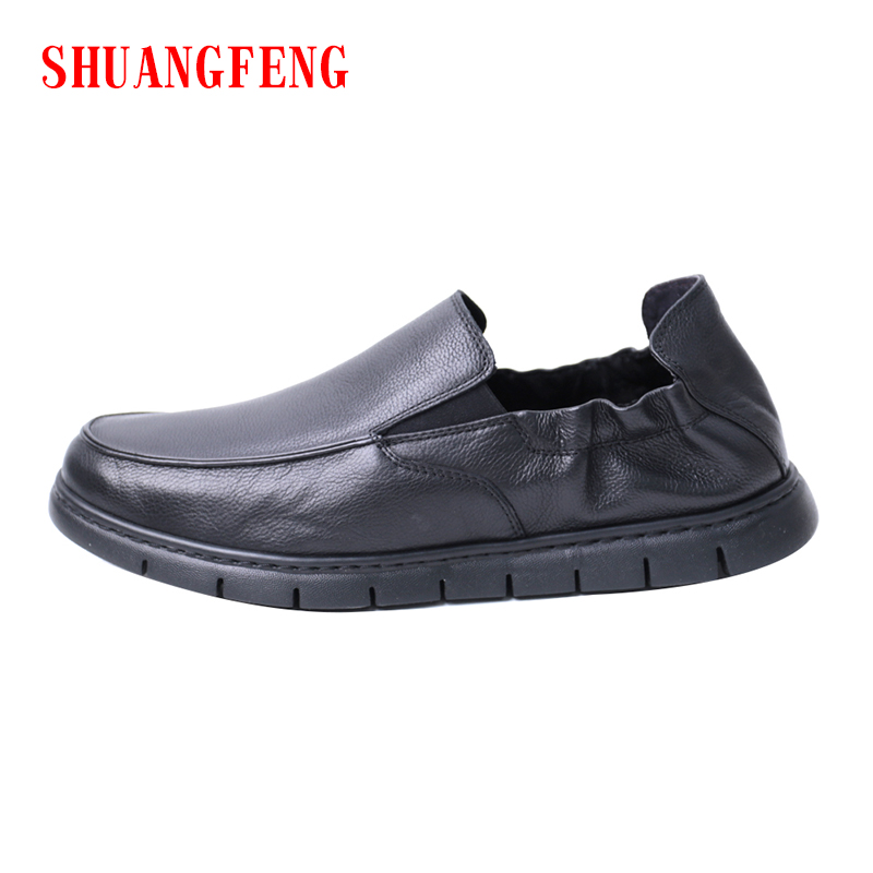 SHUANGFENG 2018 New Genuine Leather Loafers Men Shoes Fashion Casual Driving Shoes Men Loafers Luxury Flats Shoes Men Chaussure zplover fashion men shoes casual spring autumn men driving shoes loafers leather boat shoes men breathable casual flats loafers