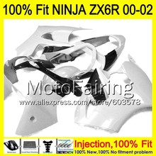 8Gifts Injection mold Body For KAWASAKI NINJA ZX-6R 00-02 INJ452 ZX 6R ZX6R 00 01 02 ZX636 2000 2001 2002 Fairing white black