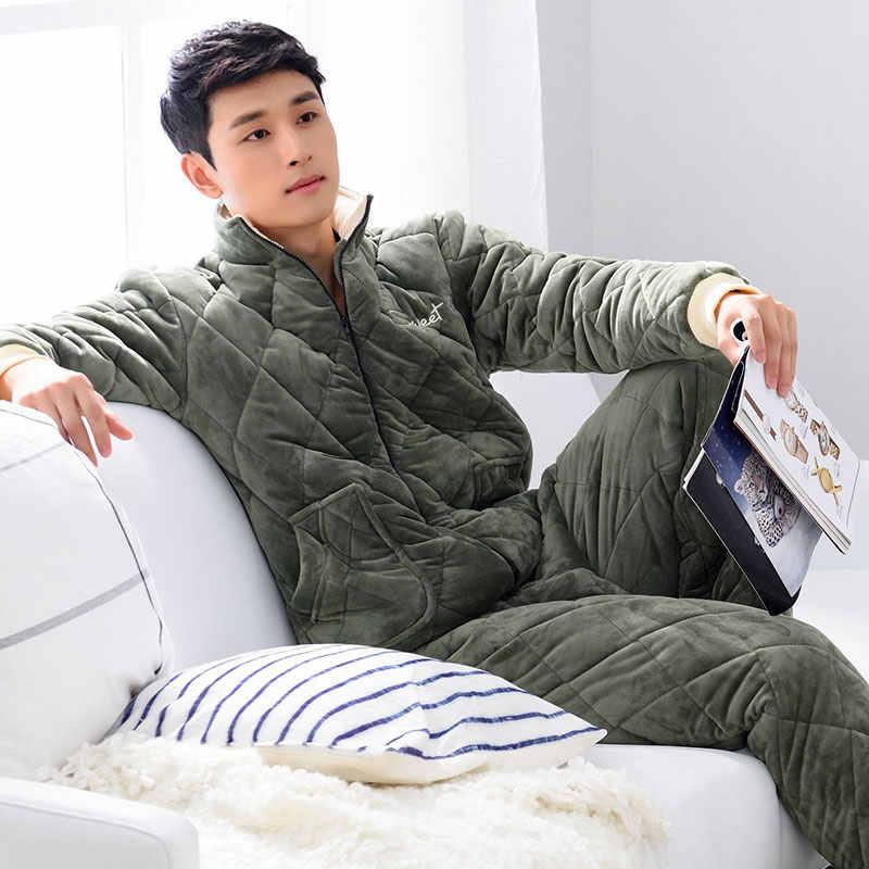 겨울 플란넬 코튼 패딩 남성 잠옷 wadded 자켓 잠옷 세트 남성 잠옷 잠옷 nightwear pijamas big & heavy quilted