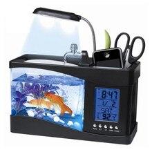 Mini Fish Bowl Tank Acrylic USB Battery Operated LED Water Pump Pen Holder Timer Temperature Music Alarm LCD Aquarium Supplies