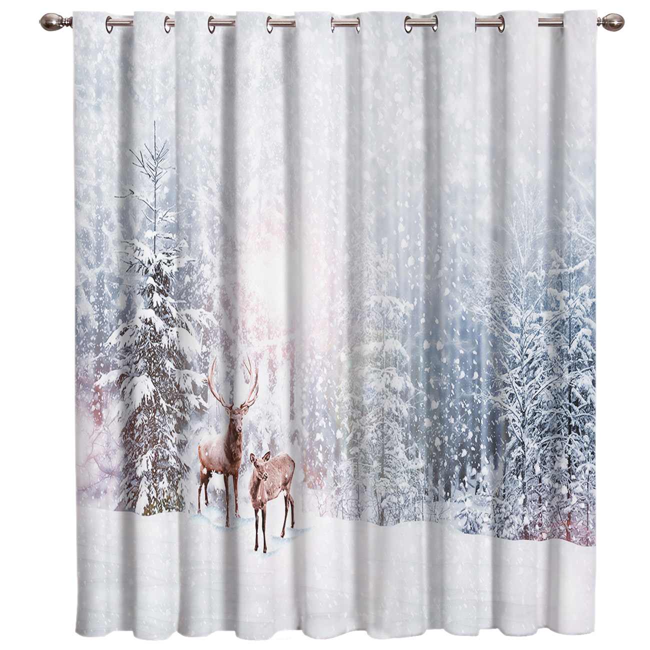 Snow Winter Christams Love Happy Living Room Outdoor Kitchen Indoor Kids Window Treatment Hardware Sets Curtain Panels With