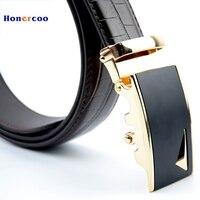 Mens Fashion Genuine Leather Belt Men Belt Gold Automatic Buckle Luxury Black Strap Designer Belts Men High Quality