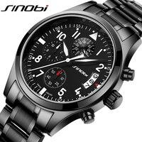 העליון של הגברים שעון קוורץ תכליתי ספורט SINOBI שעון להקת נירוסטה זכר הכרונוגרף שעון מותג יוקרה שעוני יד ילד