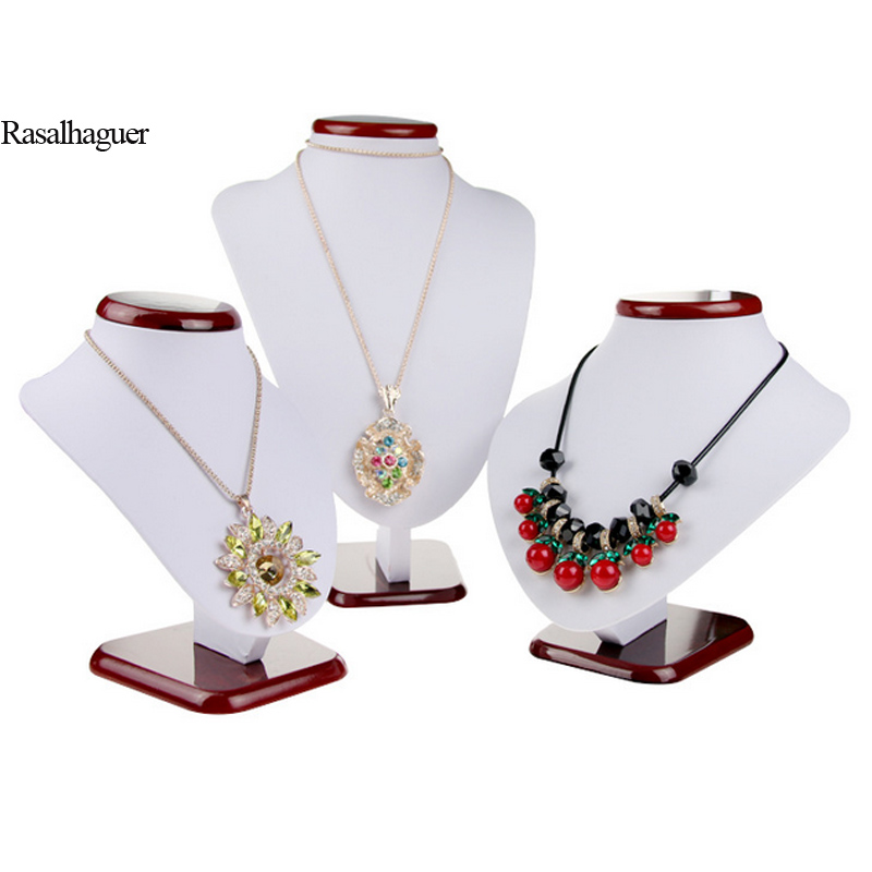 Hot Selling White PU Leather Jewellery Display Necklaces Bust Pendants Stand Choker Holder Jewellery Rack Show 3 Options Model