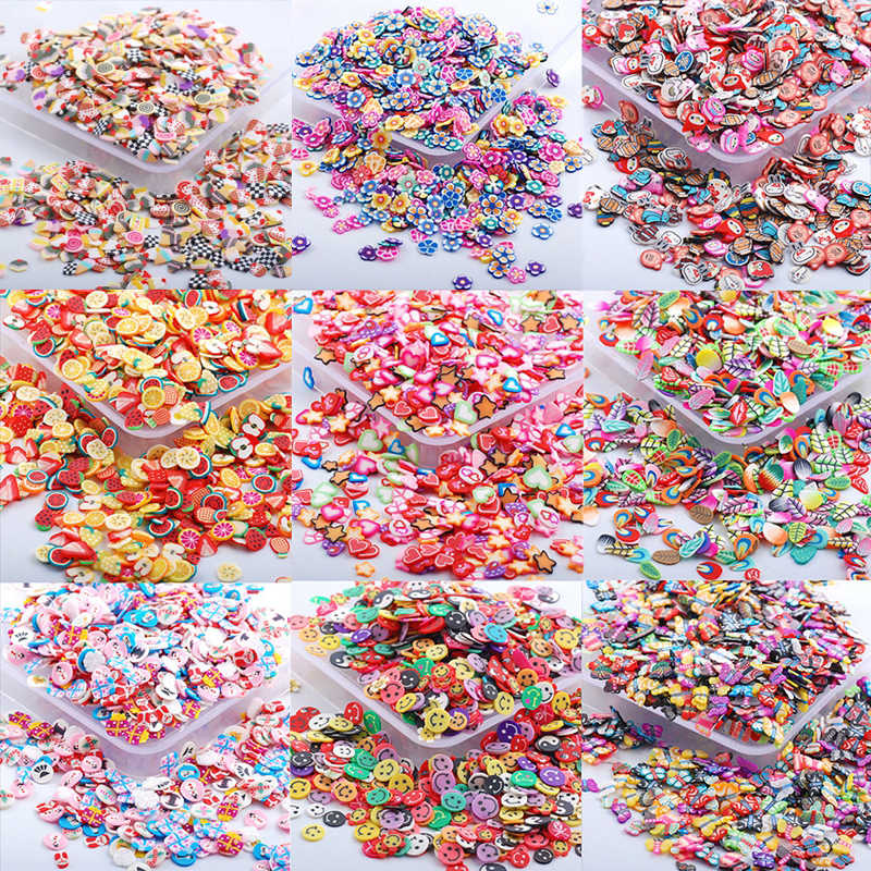 1000pcs Fruit Animal Feather Heart Christmas Slices Filler Nails Art Tips Slime For Kids DIY Slime Accessories Supplies Decor