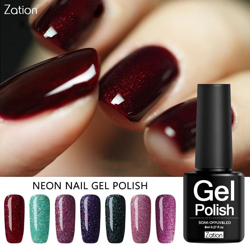 Zation 19 Colors Sequins Nail Acrylic Glue Shiny Glitter UV Gel Nail Polish Semi-Permanent Neon Color Soak Off Gel Varnish