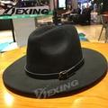 [Dexing]100%real woolen soft Pure wide Rims Side Winter women fedora hat Fashion Stetson Hats black hat men Fedora chapeau homme