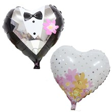 2Pcs/set 18 inches Heart Shape Bride and Groom Foil Balloons Love Bridal For Wedding Decoration Engagement Party Favors