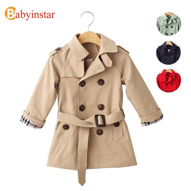 Hot Sale 2016 Boys Girls Trench Coat Fashion Double-Breasted Children Jackets Outerwear Casual Spring Autumn Kids Trench