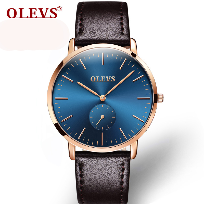 OLEVS Brand Watches Men's Leather Simple Fashion Quartz Watch Ultrathin Rose Gold Wrist Watch Male Clock Sport Wristwatch 2017 disu top brand 2017 men watches fashion simple quartz wrist watch business leather strap male sport rose gold dial clock ds039