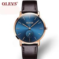OLEVS Brand Watches Men S Leather Simple Fashion Quartz Watch Ultrathin Rose Gold Wrist Watch Male