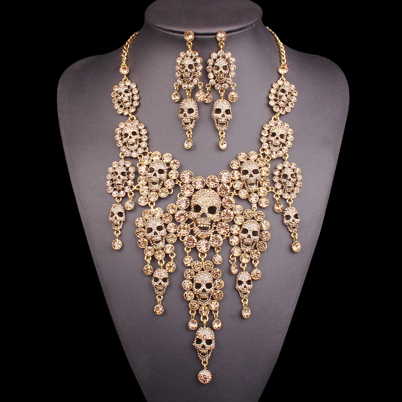 Rhinestones Skeleton Necklace Earrings Sets Vintage Big Skull Jewelry Sets Retro crystal Jewellery Halloween Costume Accessories 3d skeleton skull print halloween hoodie