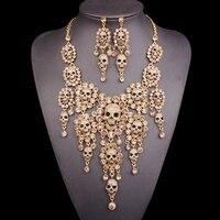 Rhinestones Skeleton Necklace Earrings Sets Vintage Big Skull Jewelry Sets Retro crystal Jewellery Halloween Costume Accessories