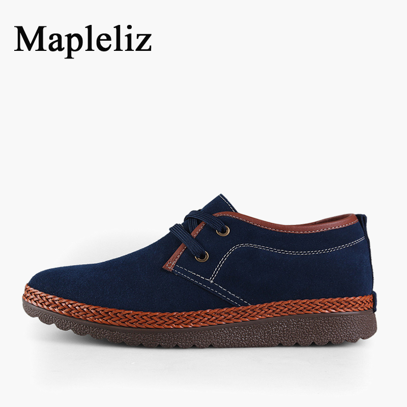 Mapleliz Brand Flock Sweat-Absorbant Casual Men Shoes Solid Breathable Genuine Leather High Quality Hard-Wearing Shoes For Men top brand high quality genuine leather casual men shoes cow suede comfortable loafers soft breathable shoes men flats warm