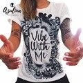 AZULINA 3D camisas de Impressão Camisa Branca de T Mulheres Verão Tee Fêmea mulheres punk rock clothing tops coruja t-shirt femme femme camisetas gráficas