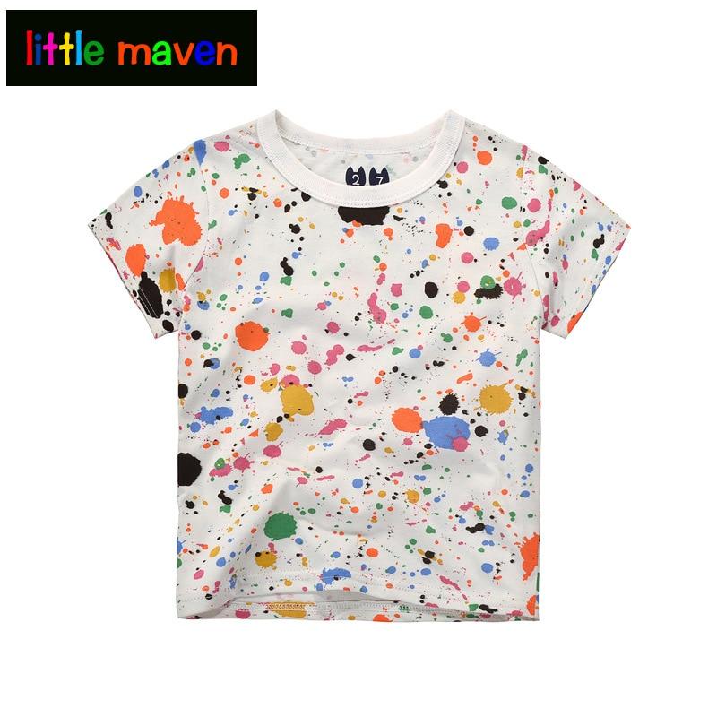Camisas blancas de verano para niños Impresión colorida de graffiti - Ropa de ninos