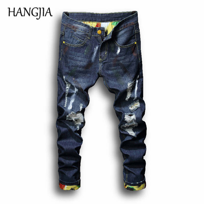 b162c72b Ripped Jeans Men Fashionable Washed Destroyed Slim Fit Jeans For Man Hole  Biker Hip Hop Breathable ...