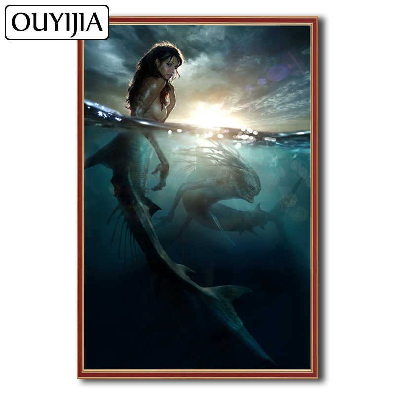Detail Feedback Questions about OUYIJIA Siren Mermaid Beauty 5D DIY Diamond  Painting Full Square Picture Of Rhinestone Cross Stitch Embroidery Diamond  ... c5e2fc82e465