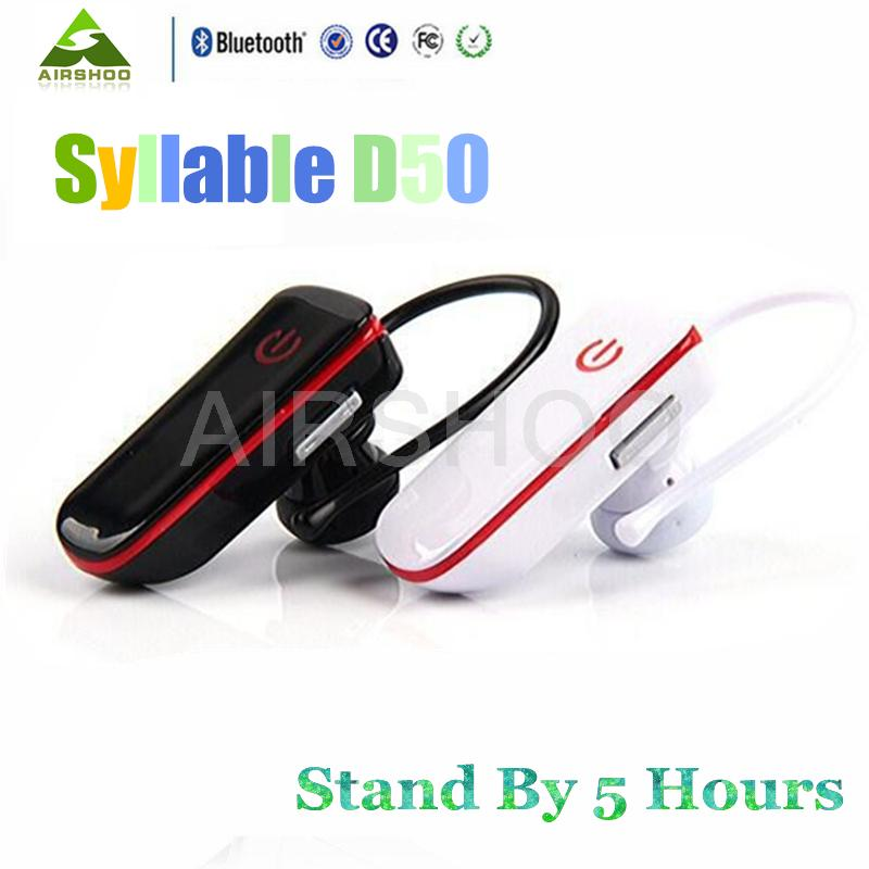 2pcs/Lot Original Syllable D50 Wireless Headset Cordless Bluetooth Mini Headphone Ear Hook Earphone With Mic For Drivers