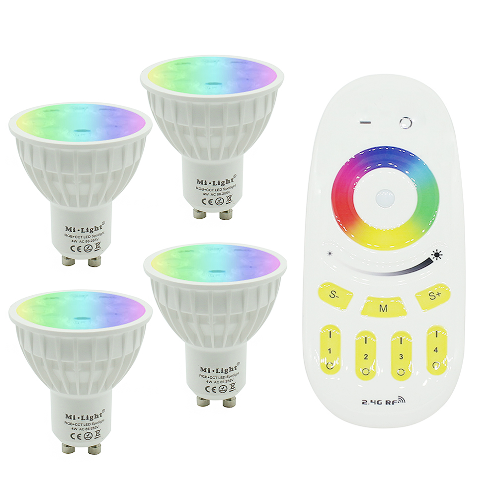 Tanbaby Mi.light 2.4G wireless Smart GU10 LED bulb RGB+CCT color change dimmable spotlight 4W AC 85-265V wifi remote controller smart bulb e27 7w led bulb energy saving lamp color changeable smart bulb led lighting for iphone android home bedroom lighitng