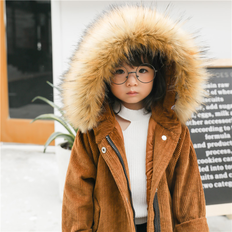 Cold Warm Winter Children Long Jackets Faux Fur Hooded Coats For Boys Corduroy Baby Girls Outerwear Snowsuit Kids Clothes Parkas fur hooded girls winter coats and jackets outwear warm long down jacket kids girls clothes children parkas baby girls clothing