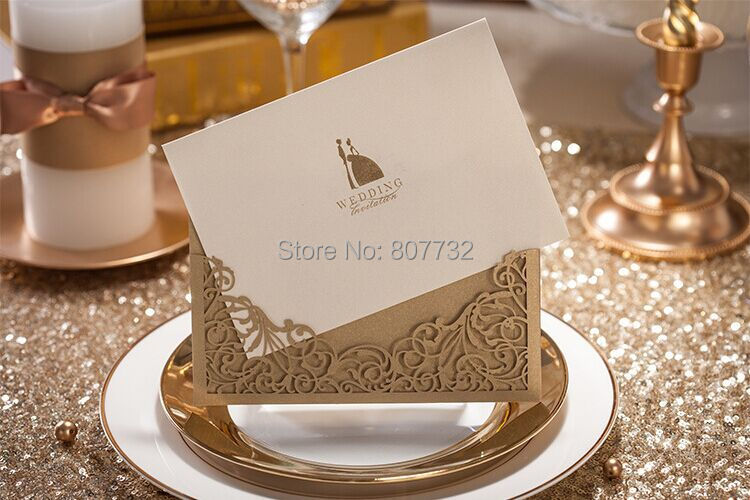 High Quality Wedding Invitation Card 170*115mm, Amazing Hollowed Out  Design, Gold