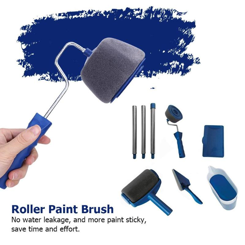 8pcs Seamless Color Box Packaging Wall Paint Runner Roller Painting Brush Tools Household Use Wall Decorative DIY  Brushes Set