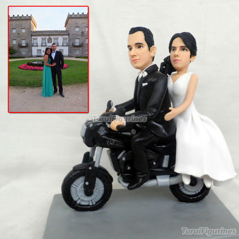 Us 248 0 Ooak Polymer Clay Doll Motorbike Wedding Anniversary Cake Topper Decoration Personalised Harley Davidson Motorbike Model Gift In Party