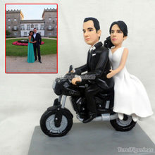 ooak polymer clay doll motorbike Wedding anniversary cake topper decoration Personalised Harley Davidson Motorbike model gift