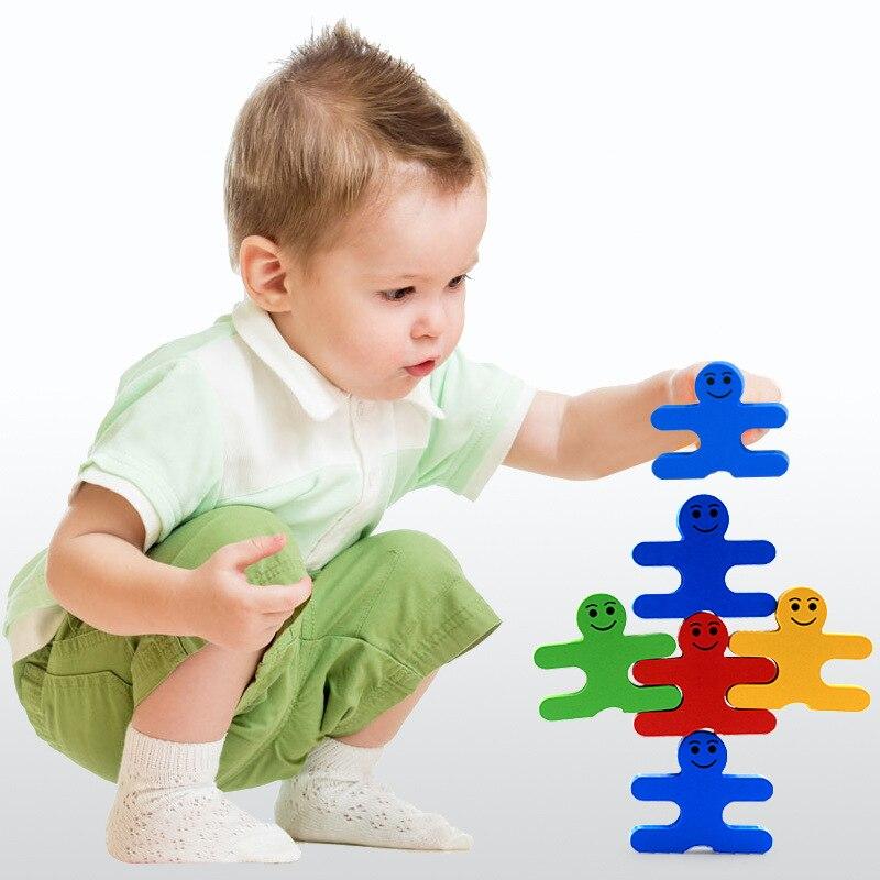 Kids Puzzle Cartoon Balance Villain Puzzles 16pcs Creative Wooden Baby Intelligence Children Early Education Balance Puzzles Toy