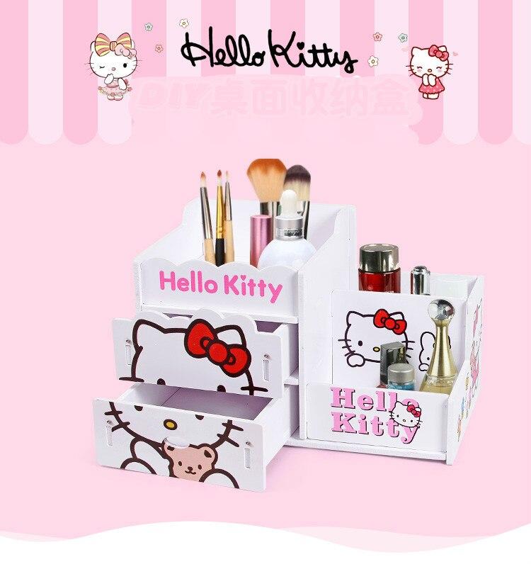 Creative Diy Cute Desktop Cosmetics Box Remote Control Box Kitty Pen Plastic Wood Plate Finishing Box Desk Organizer Storage Box