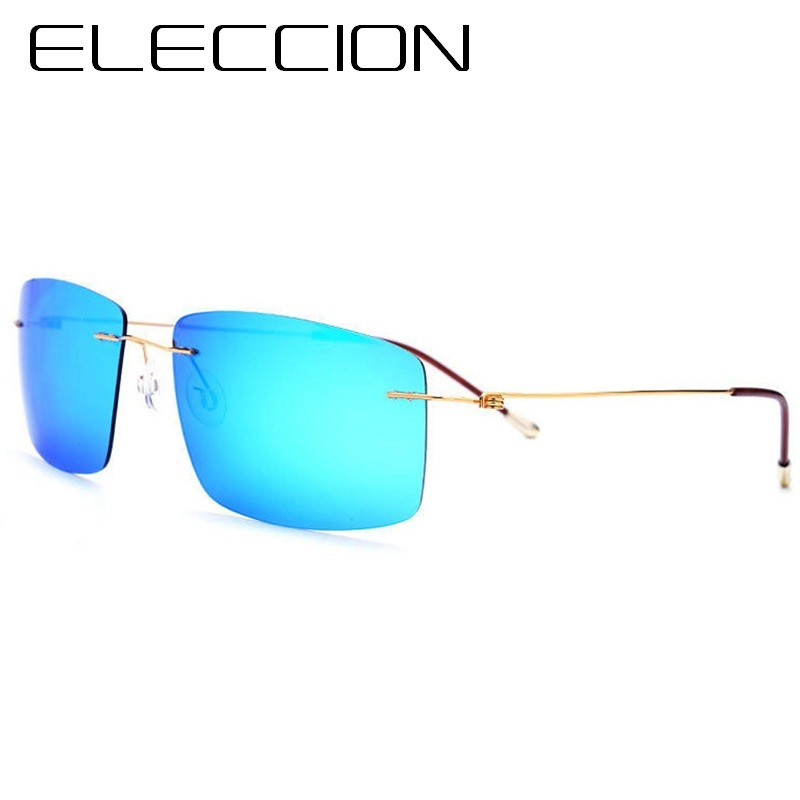 ELECCION High Quality Frame Titanium Ultra Light Rimless Drive Polarized Sunglasses for Men Fashion Pilot Glasses oculos de sol