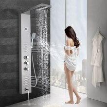 Schwarz Nickel Niederschläge Wasserfall Dusche Panel Massage Jets Dusche Spalte Thermostat Dusche Wasserhahn Turm Dusche Badewanne Auslauf