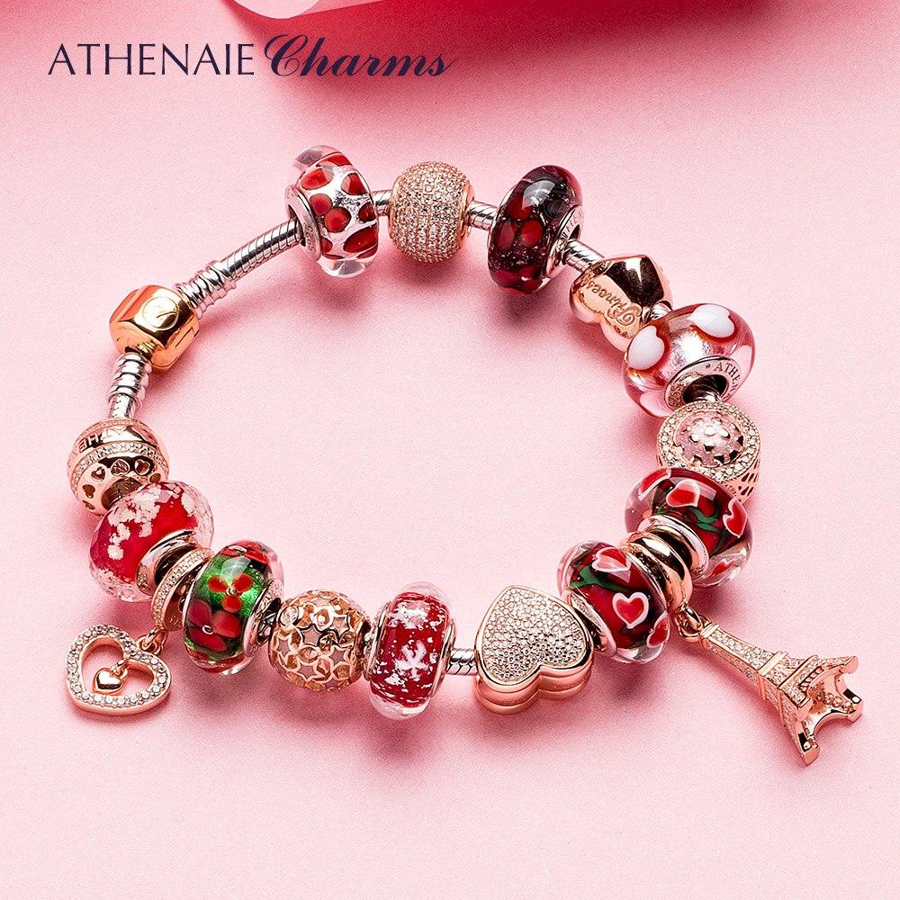 ATHENAIE 925 Silver Bracelet Rose Gold Eiffel Tower Pendant Heart Charm Beads Bracelets Bangles For Women