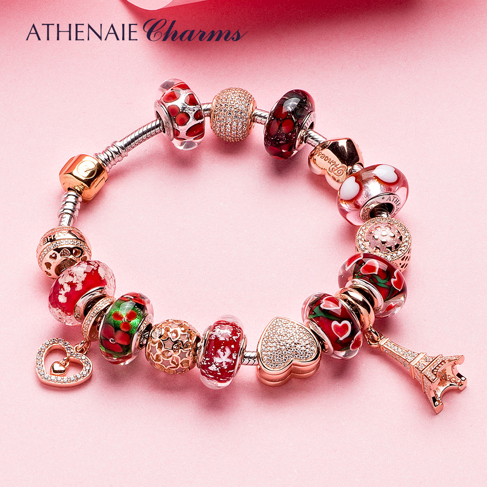 ATHENAIE 925 Silver Bracelet Rose Gold Eiffel Tower Pendant & Heart Charm Beads Bracelets & Bangles For Women Jewelry Gift eiffel tower charm bangle