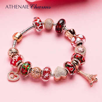 ATHENAIE 925 Silver Bracelet Rose Gold Eiffel Tower Pendant & Heart Charm Beads Bracelets & Bangles For Women Jewelry Gift - DISCOUNT ITEM  34% OFF All Category