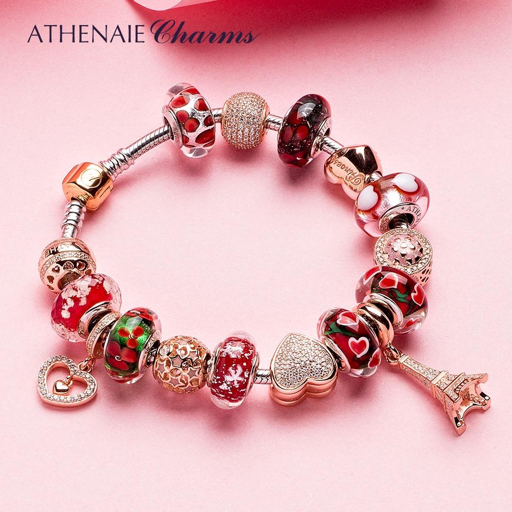 ATHENAIE 925 Silver Bracelet Rose Gold Eiffel Tower Pendant & Heart Charm Beads Bracelets & Bangles For Women Jewelry Gift