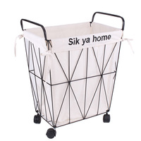Large Movable Metal Iron Laundry Storage Basket with Wheels Cloth Storage Wire Basket Shushi Dirty Clothes Stacking Storage Bin