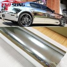7 tamaños de alta espejo extensible plata cromo espejo flexible vinilo envoltura hoja rollo película coche pegatina hoja