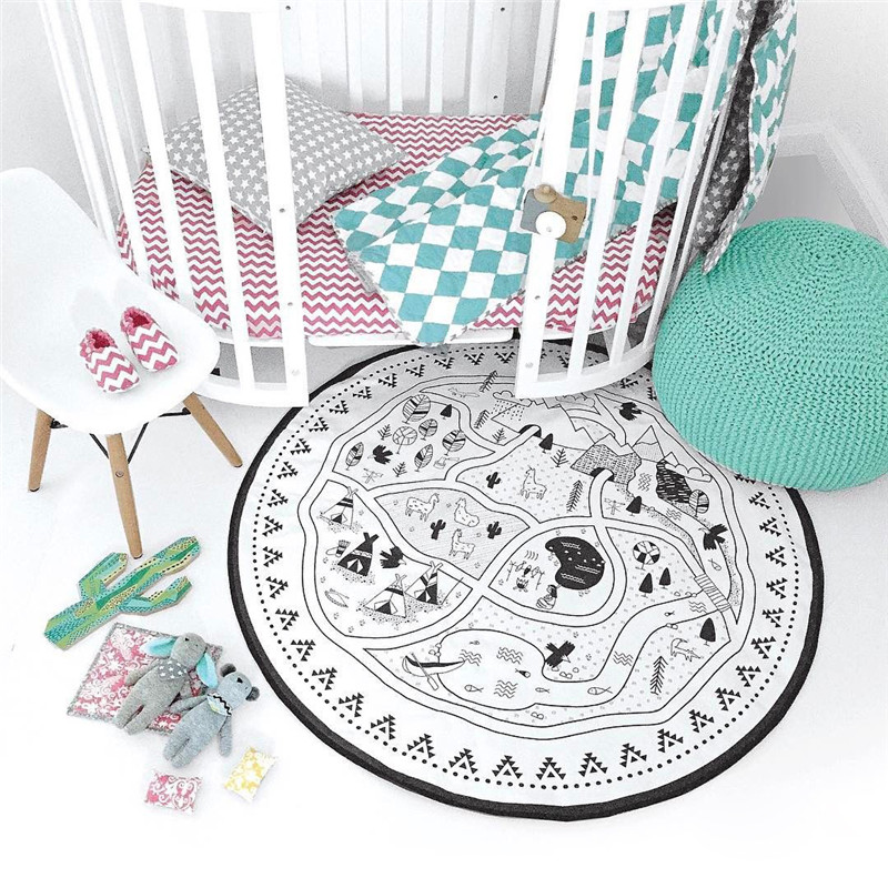 135cm Baby Play Mat Cotton Environmental Cartoon Kids Swan Round Game Mats Baby Crawling Nordic Style Soft Mats Toys