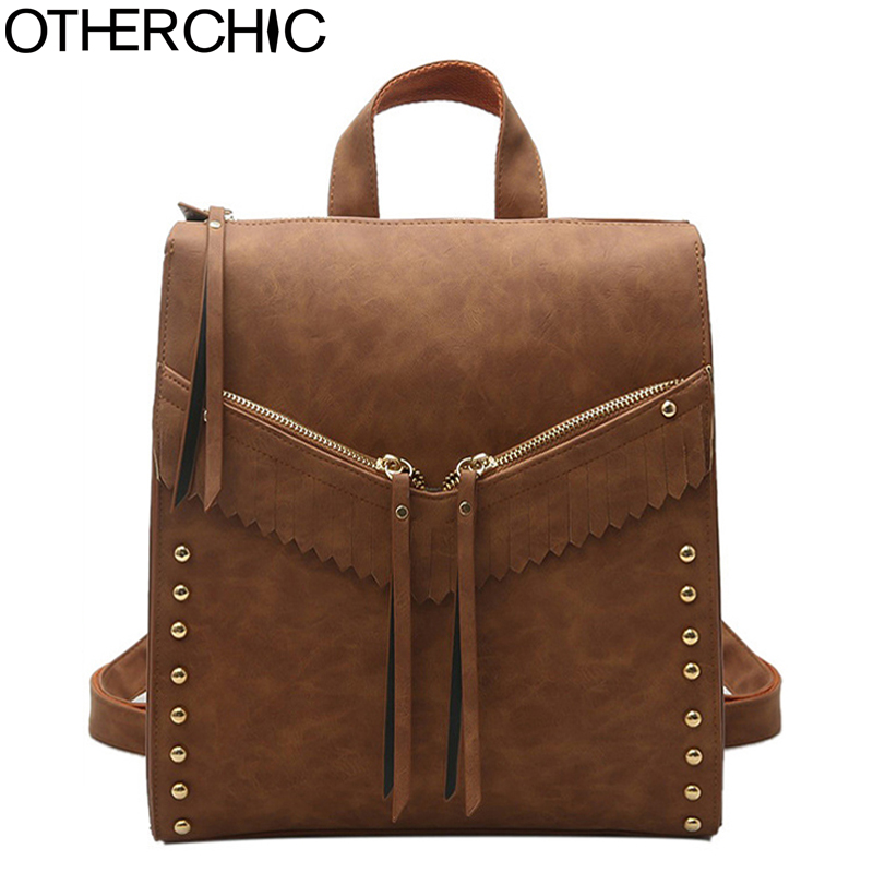 OTHERCHIC Fashion Retro Women Backpack Rivet High Quality Nubuck Leather Vintage Backpacks for Teenag Girls Sac